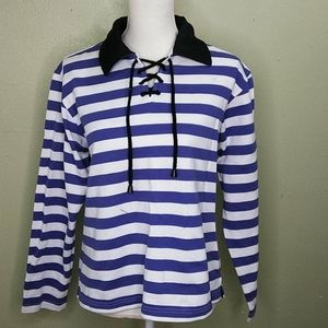 Vintage GV Sport Striped French Terry Top L